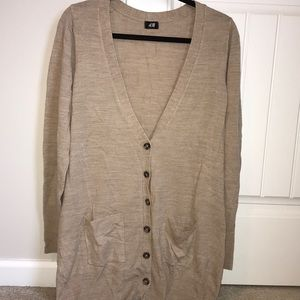 H&M Camel Cardigan with Tortoise Buttons